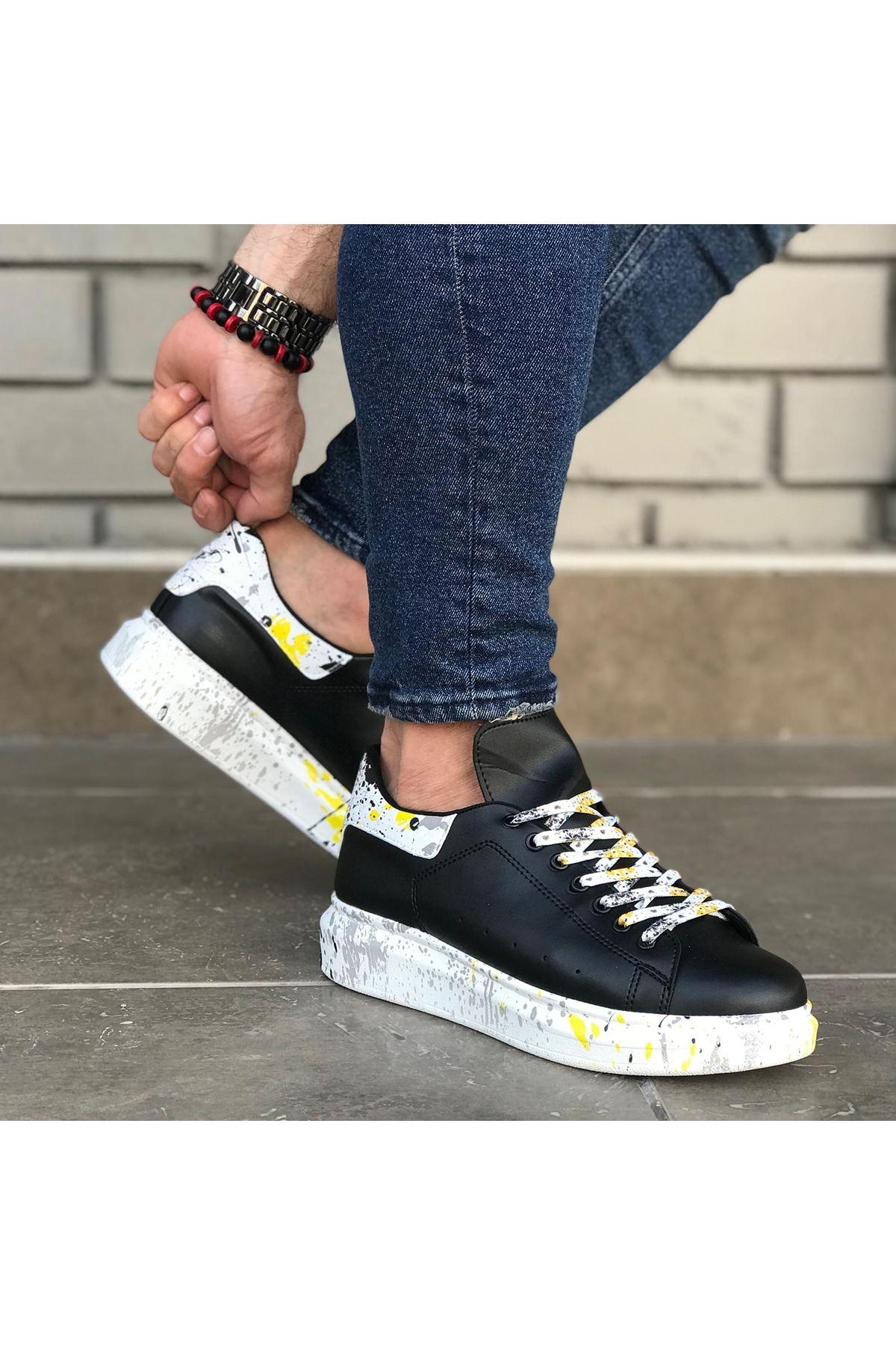 Wagoon WG501 Siyah Sarı Boyalı Erkek Casual Ayakkabı