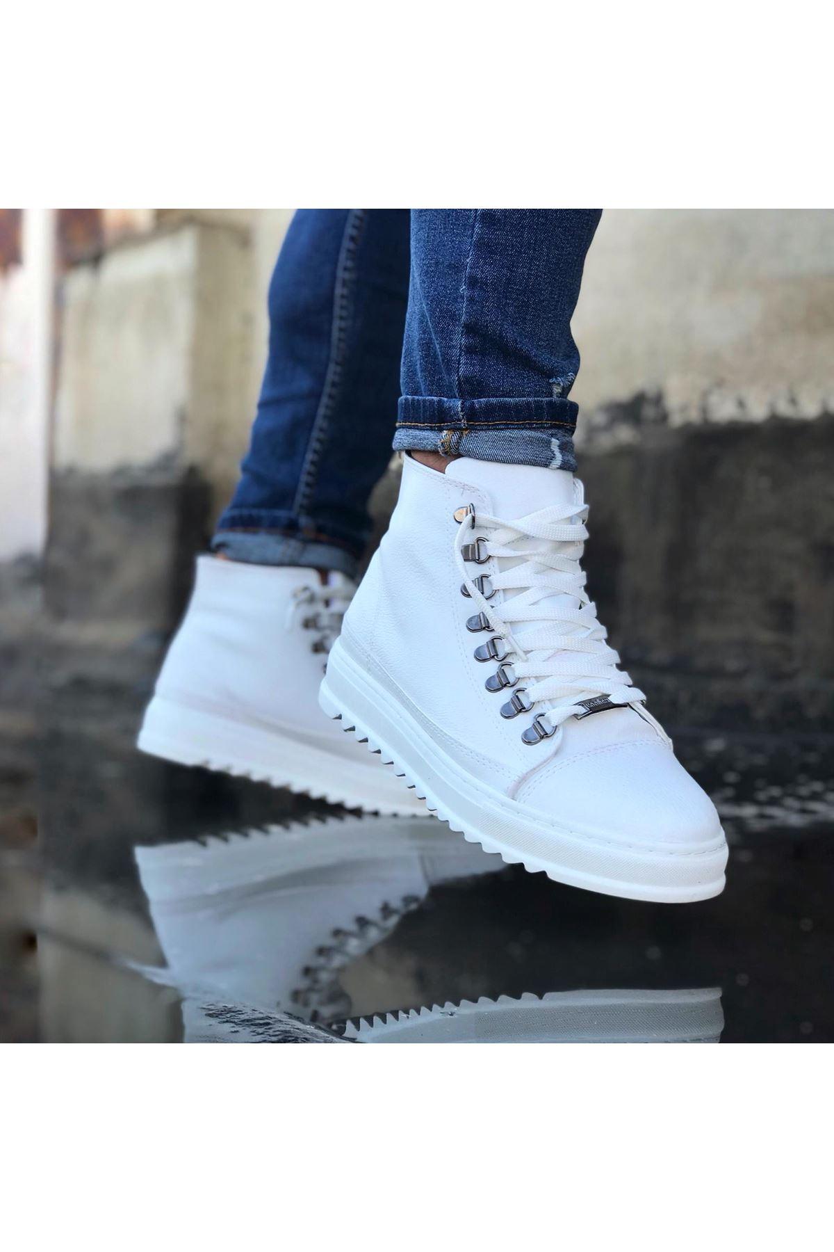 Wagoon WG034 Beyaz Bağcıklı Sneakers  Yarım Bilek Bot