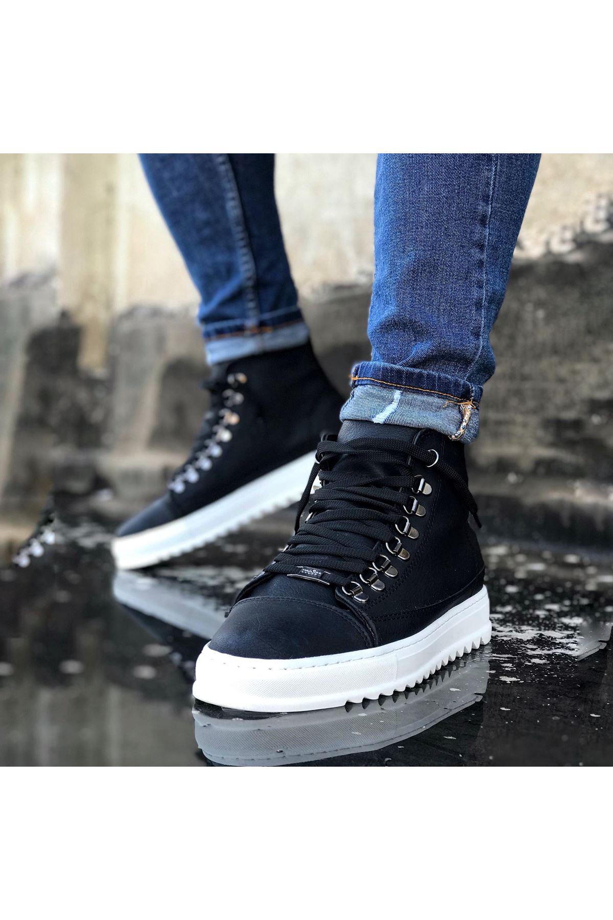 Wagoon WG034 Siyah Bağcıklı Sneakers  Yarım Bilek Bot