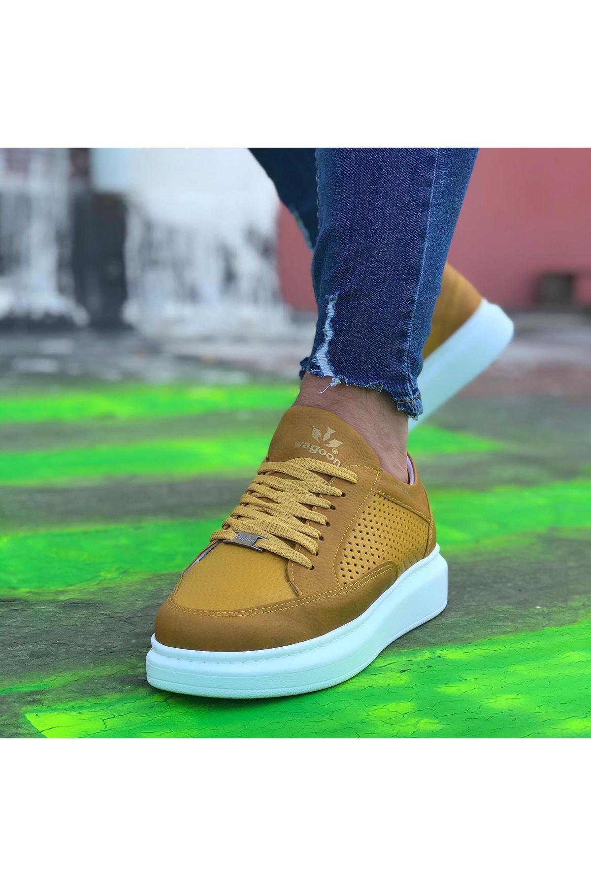 Wagoon WG505 Sarı Delikli Erkek Casual Ayakkabı