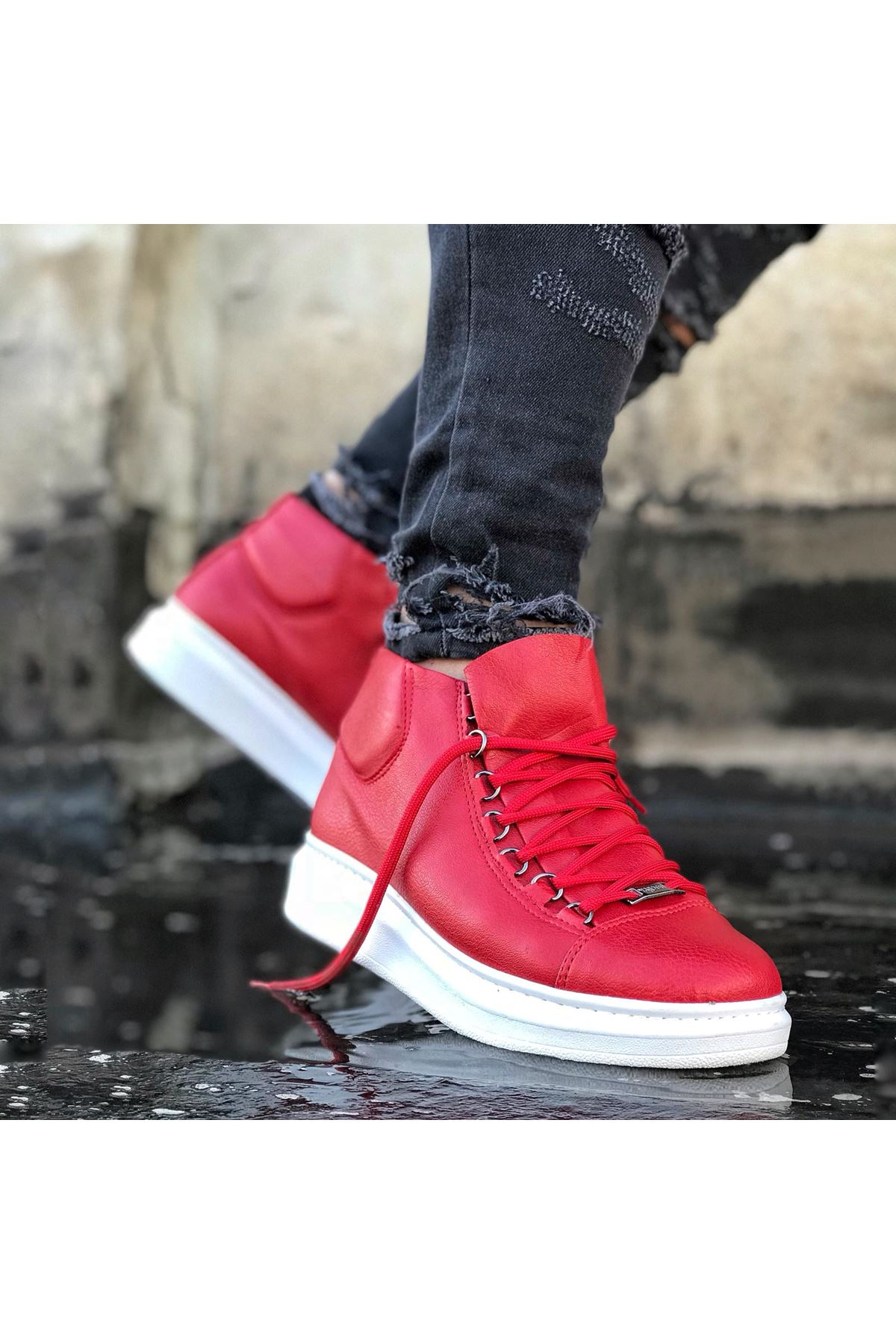 Wagoon WG032 Kırmızı Bağcıklı Sneakers  Yarım Bilek Bot