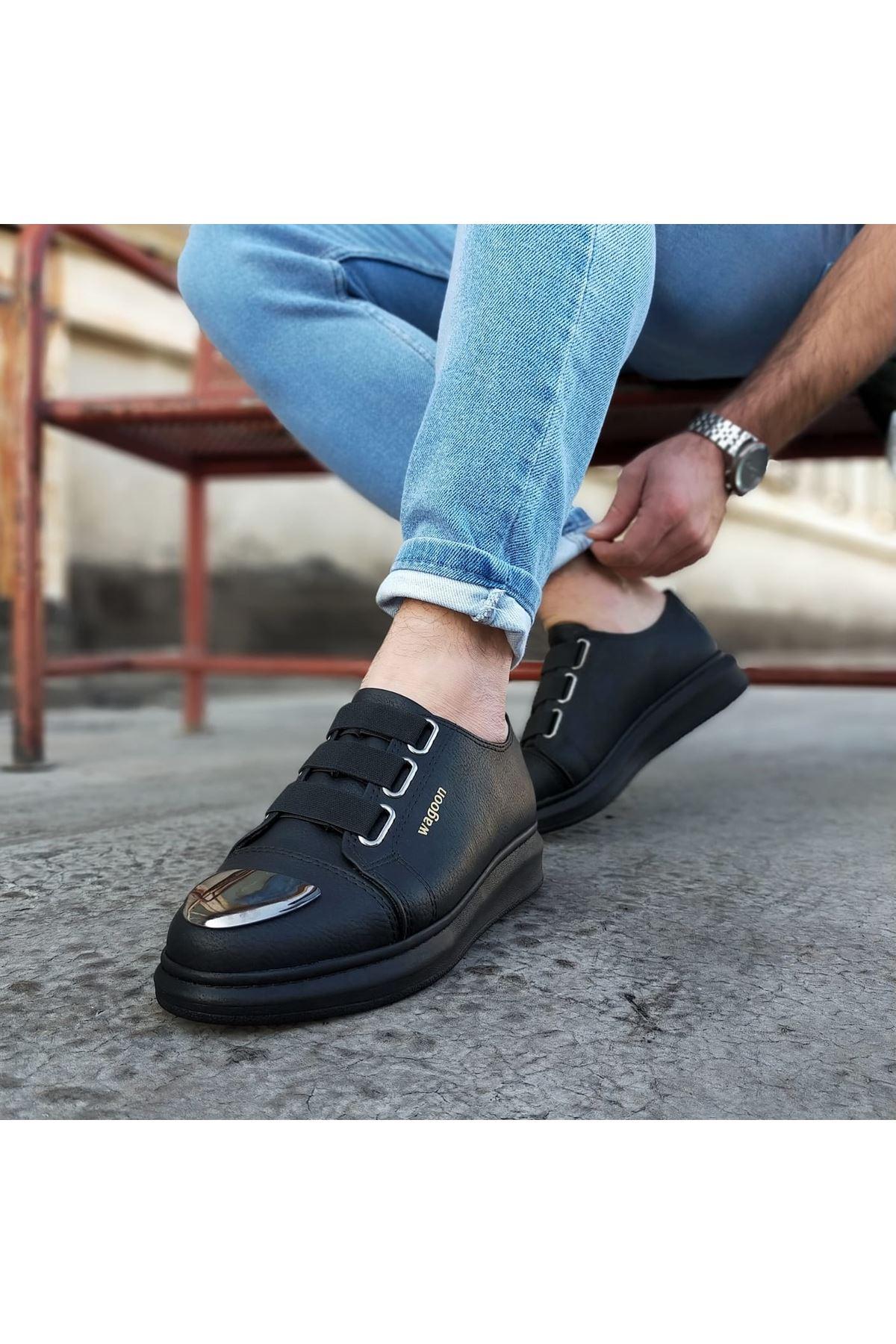 Wagoon WG026D Kömür Kalın Taban Casual Erkek Ayakkabı