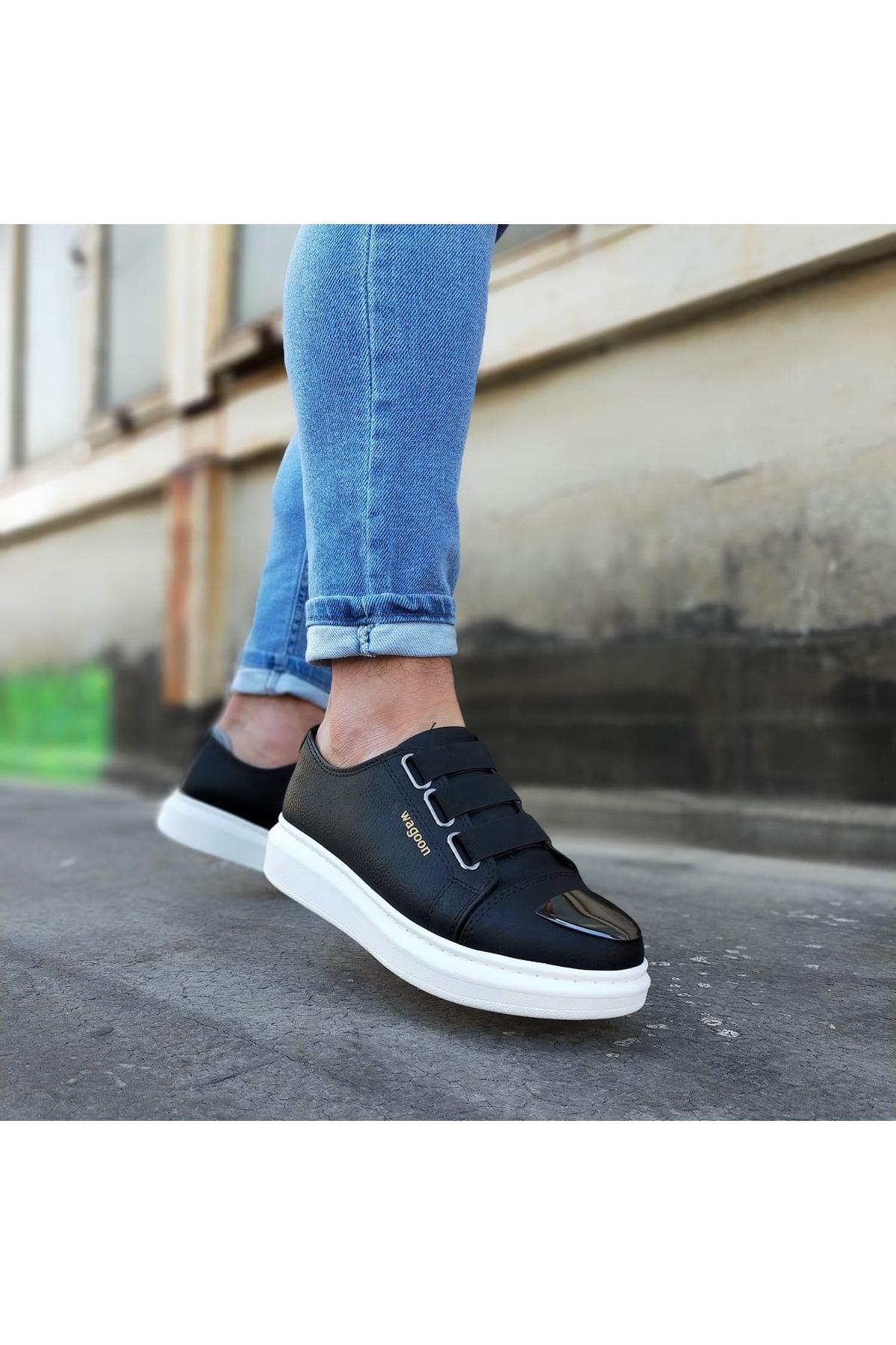 Wagoon WG026D Siyah Kalın Taban Casual Erkek Ayakkabı