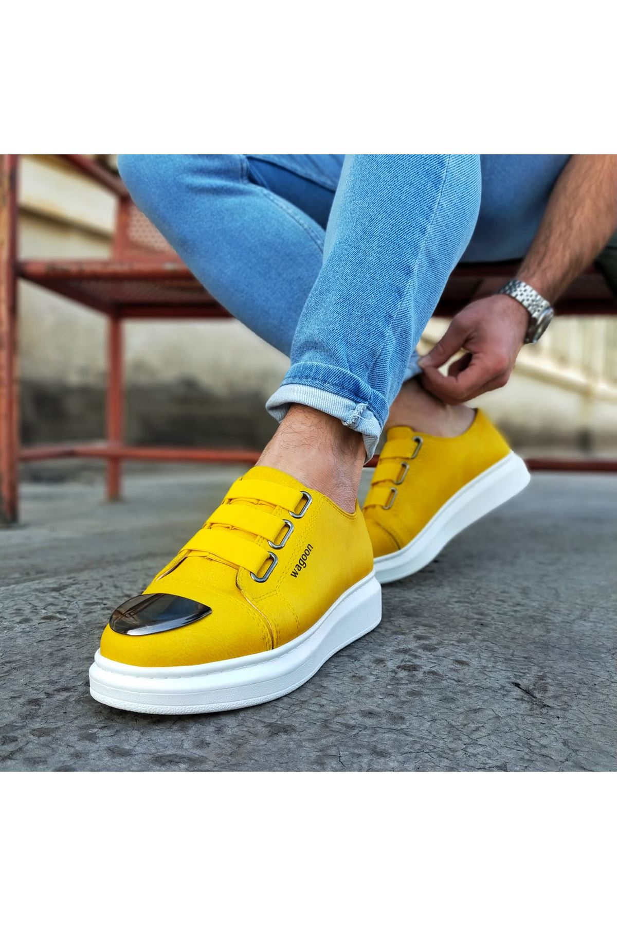 Wagoon WG026D Sarı Kalın Taban Casual Erkek Ayakkabı