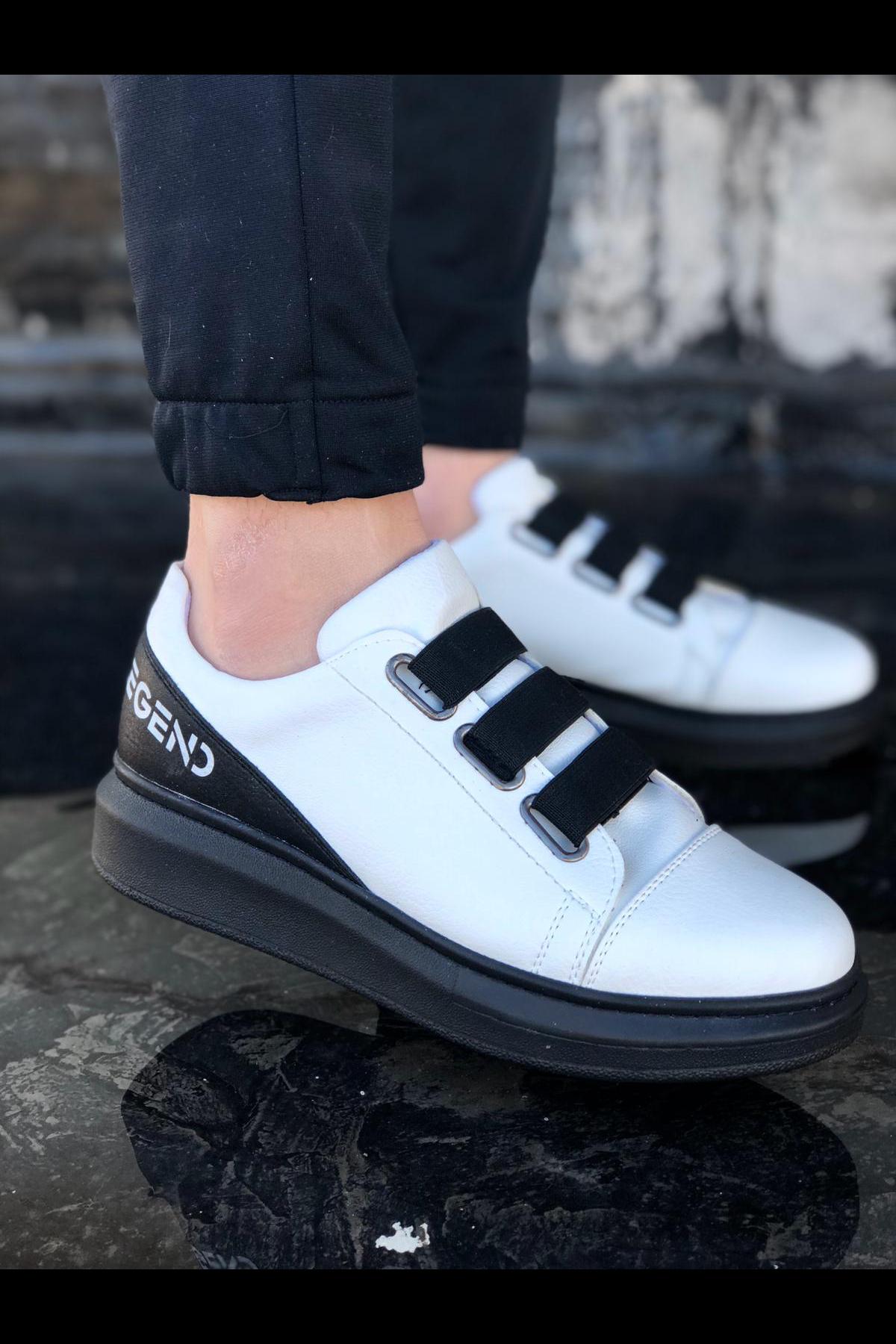 Wagoon WG029 3 Bant Legend Beyaz Siyah Kalın Taban Casual Erkek Ayakkabı