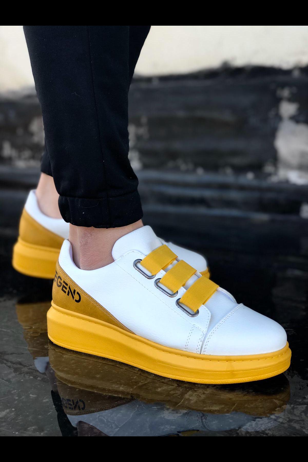 Wagoon WG029 3 Bant Legend Beyaz Sarı Kalın Taban Casual Erkek Ayakkabı
