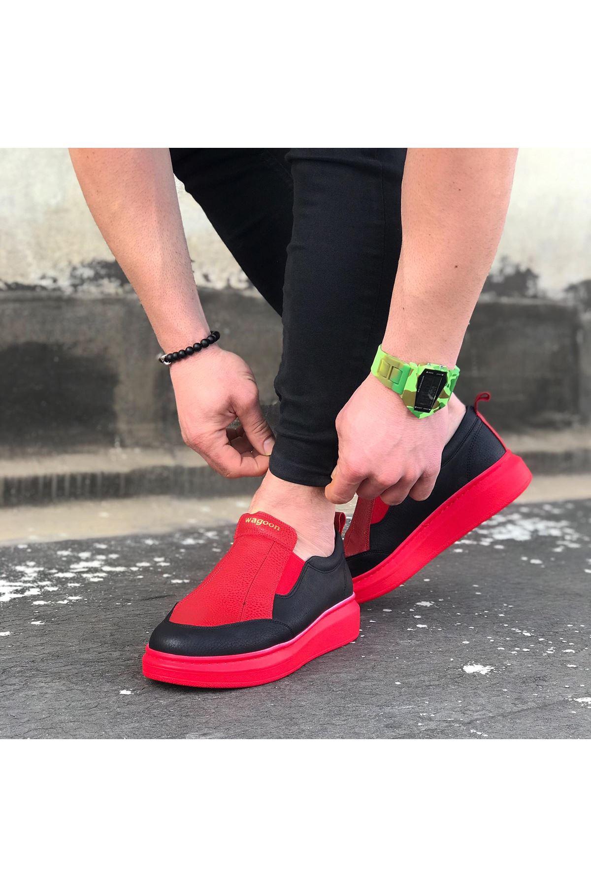 Wagoon WG049 Siyah Kırmızı Lastikli Taban Casual Erkek Ayakkabı