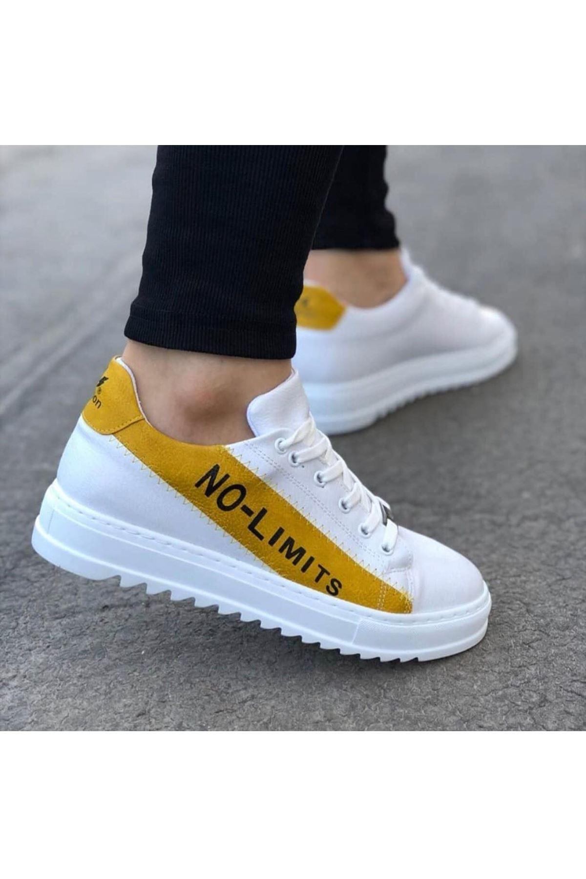 Wagoon WG027 Beyaz Sarı No Limit Erkek Casual Ayakkabı