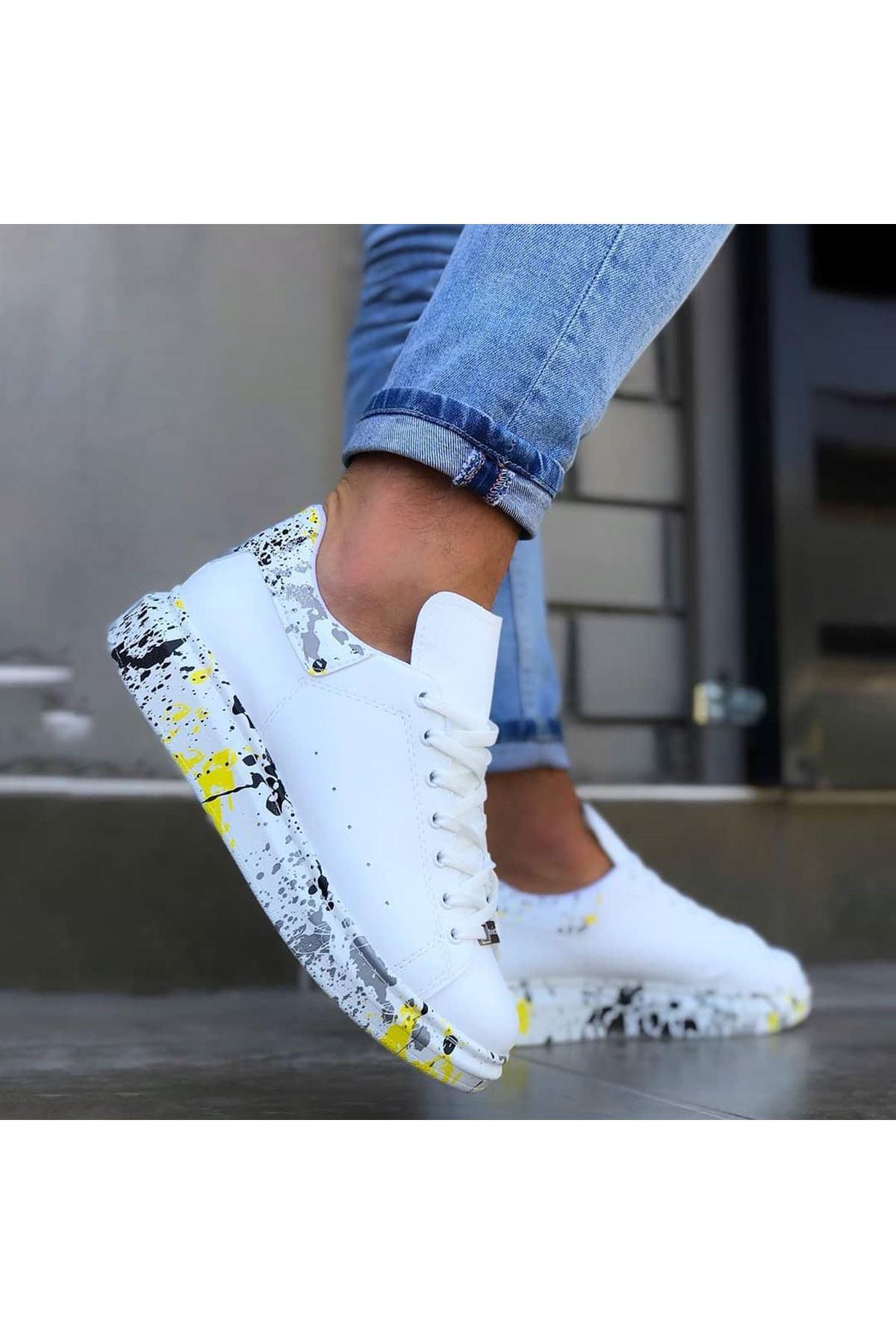 Wagoon WG501 Beyaz Sarı Boyalı Erkek Casual Ayakkabı