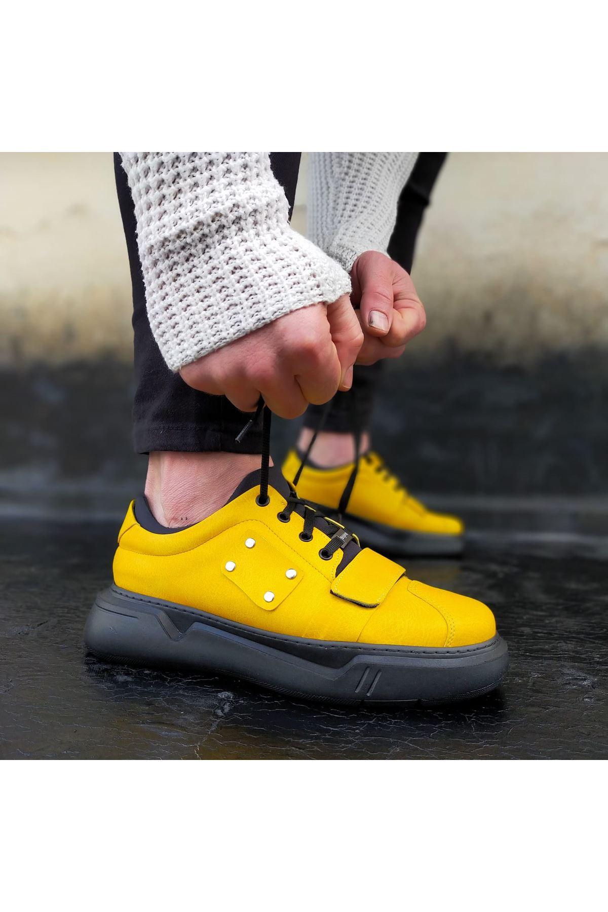 Wagoon WG018 Sarı Kömür Erkek Yüksek Taban  Ayakkabı
