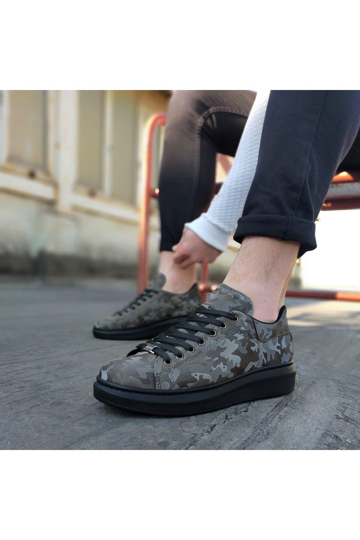Wagoon WG501 Gri Siyah Hologram Erkek Yüksek Taban  Ayakkabı