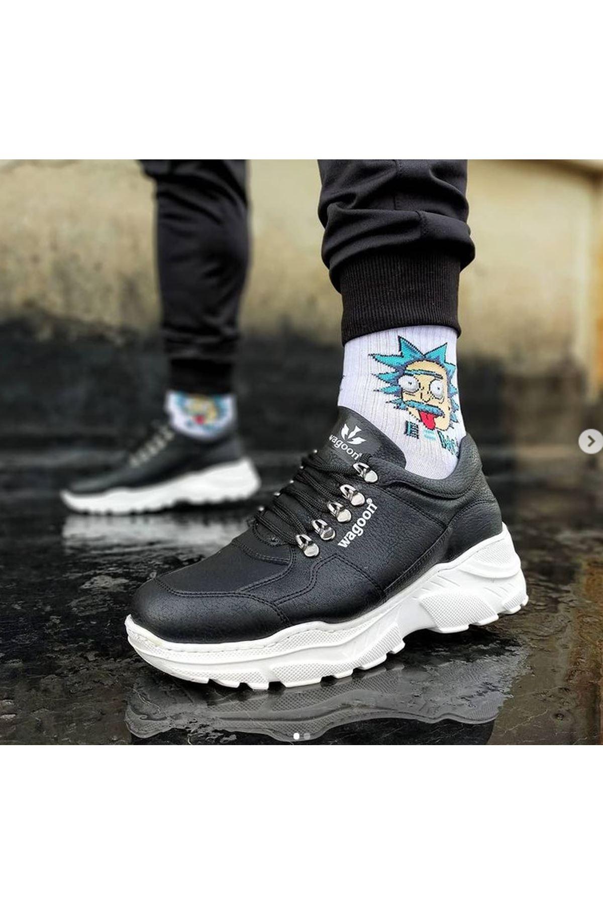Wagoon WG019 Siyah Erkek Yüksek Taban Ayakkabı
