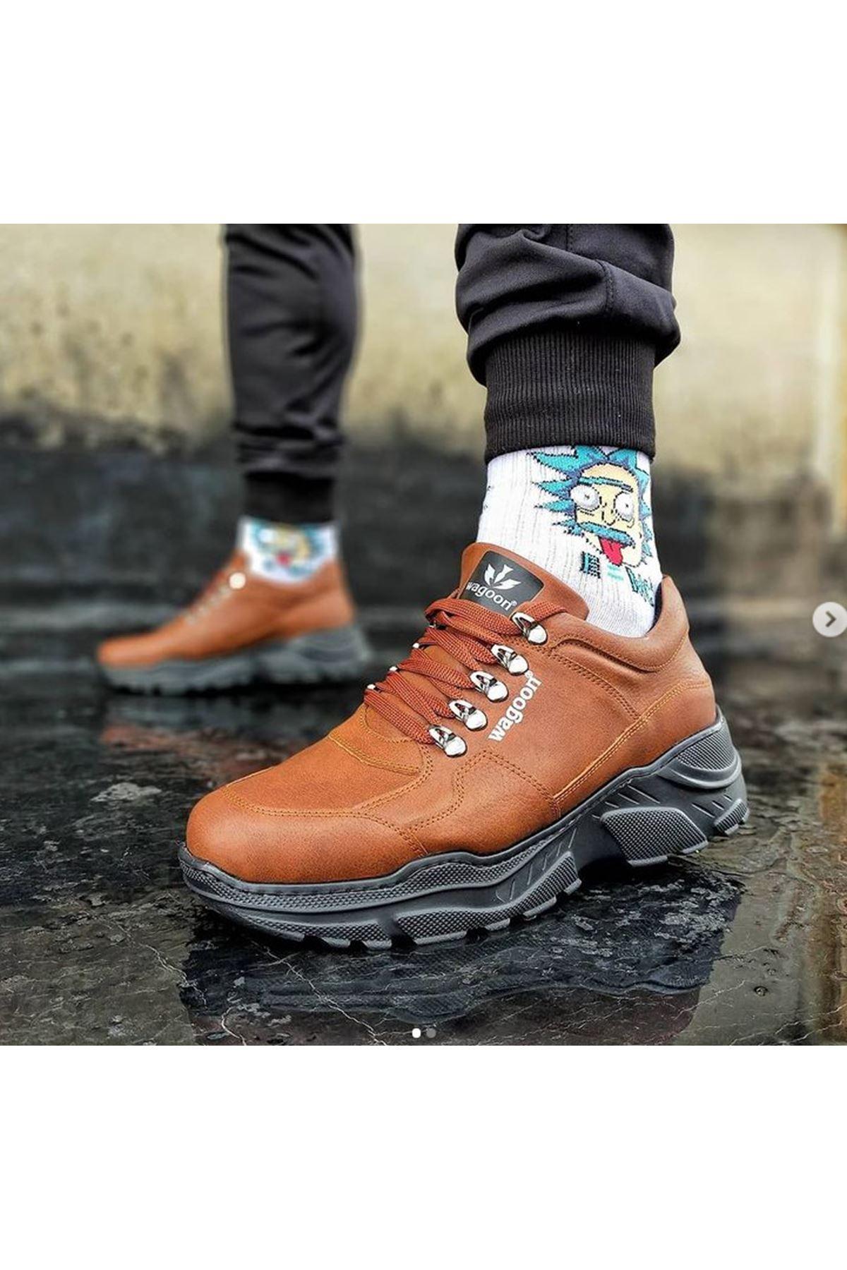 Wagoon WG019 Taba Kömür Erkek Yüksek Taban Ayakkabı
