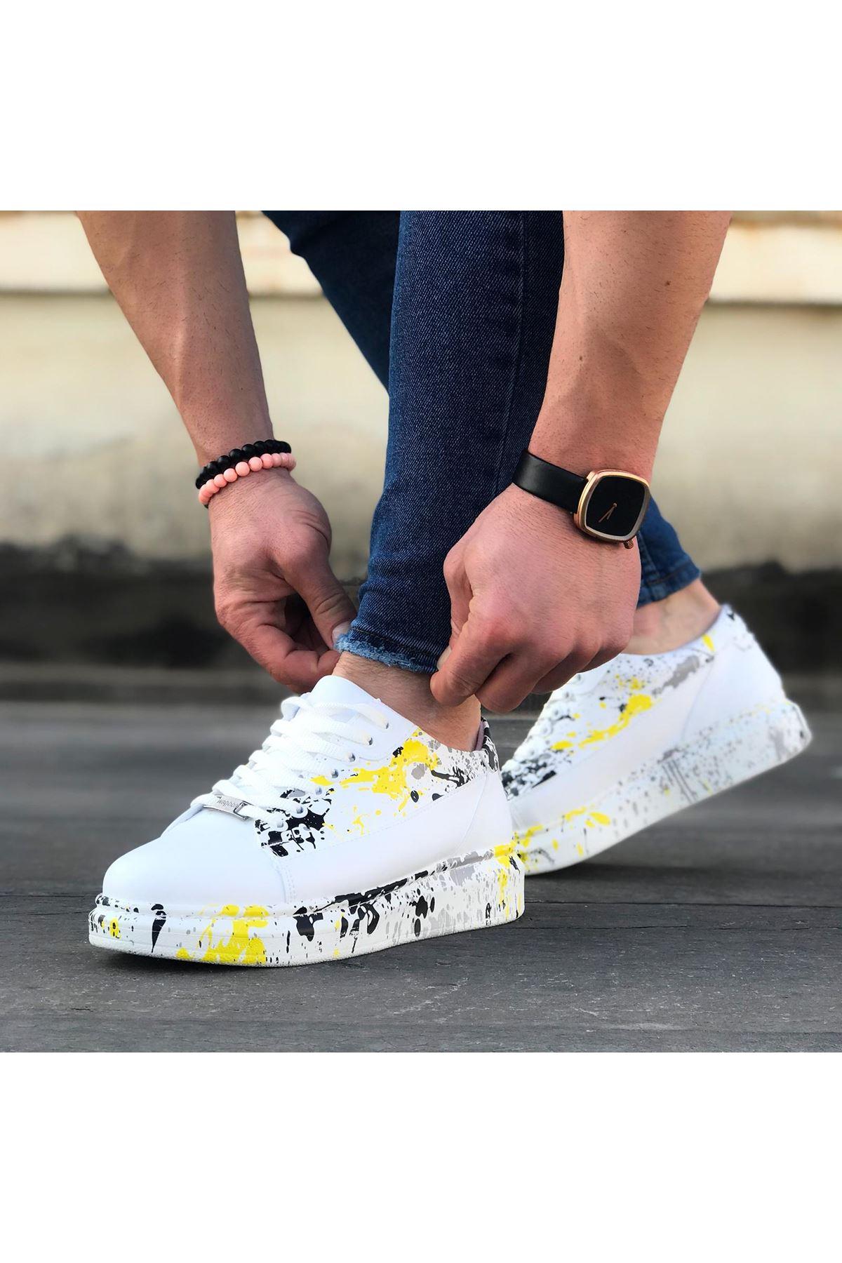 Wagoon WG028 Beyaz Sarı Boyalı Bağcıklı Kalın Taban Casual Erkek Ayakkabı