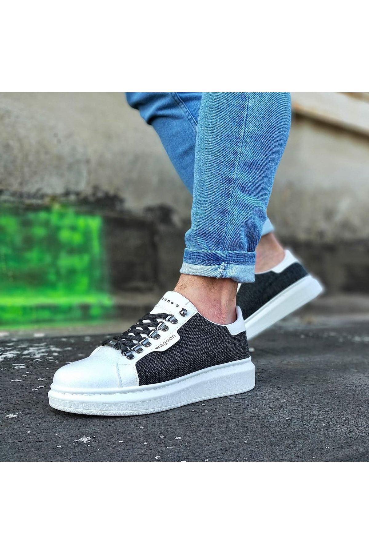 Wagoon WG01 Beyaz Siyah Keten Erkek Casual Ayakkabı