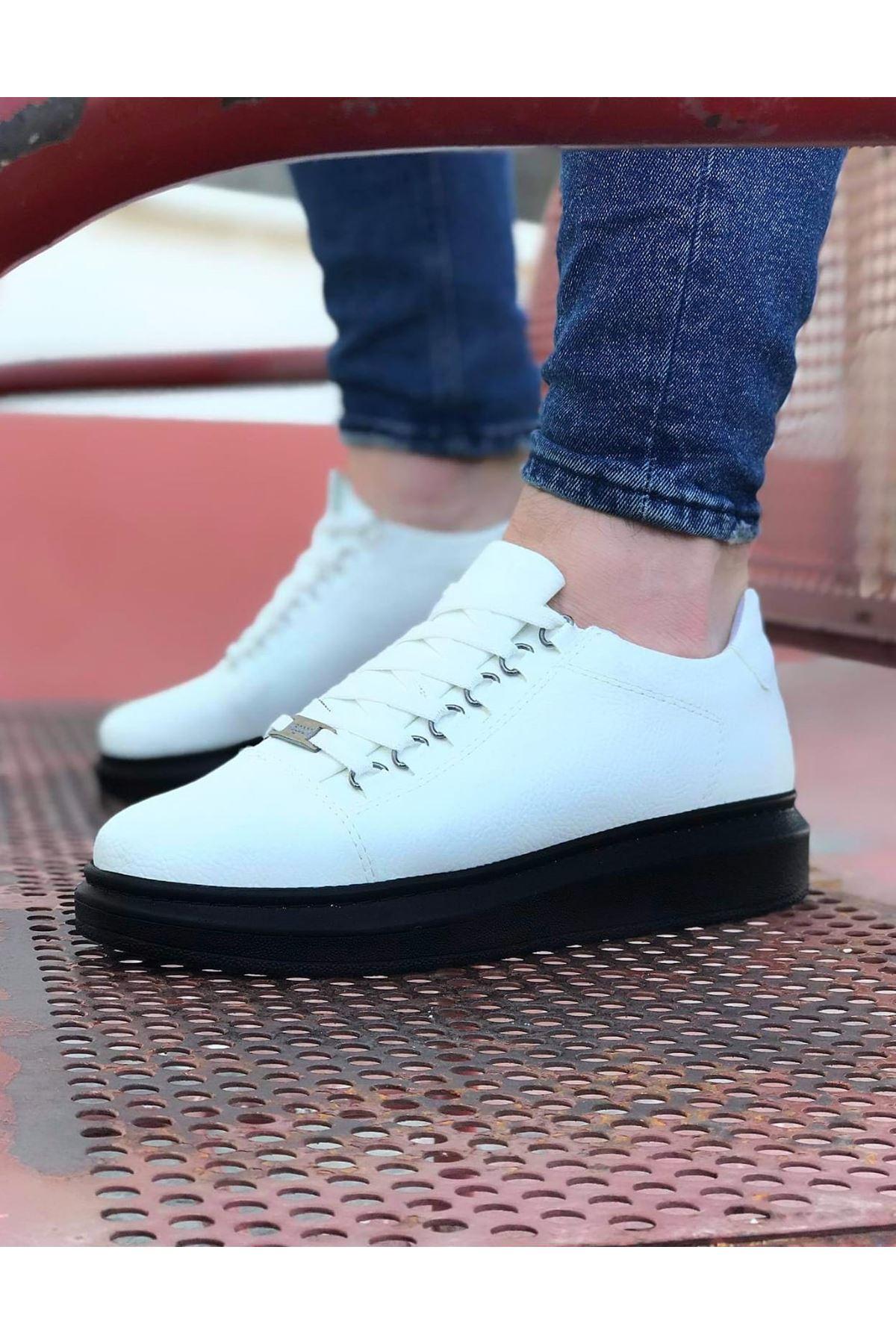 Wagoon WG08 Beyaz Kömür Düz Erkek Casual Ayakkabı