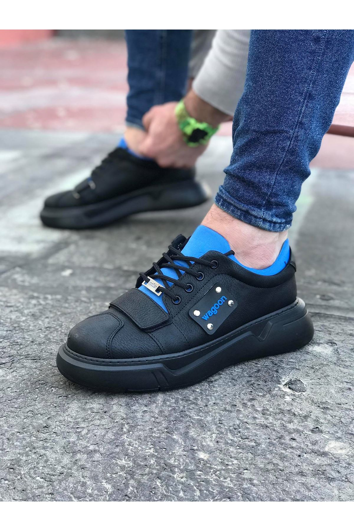 Wagoon WG018 Siyah Sax Erkek Yüksek Taban Ayakkabı