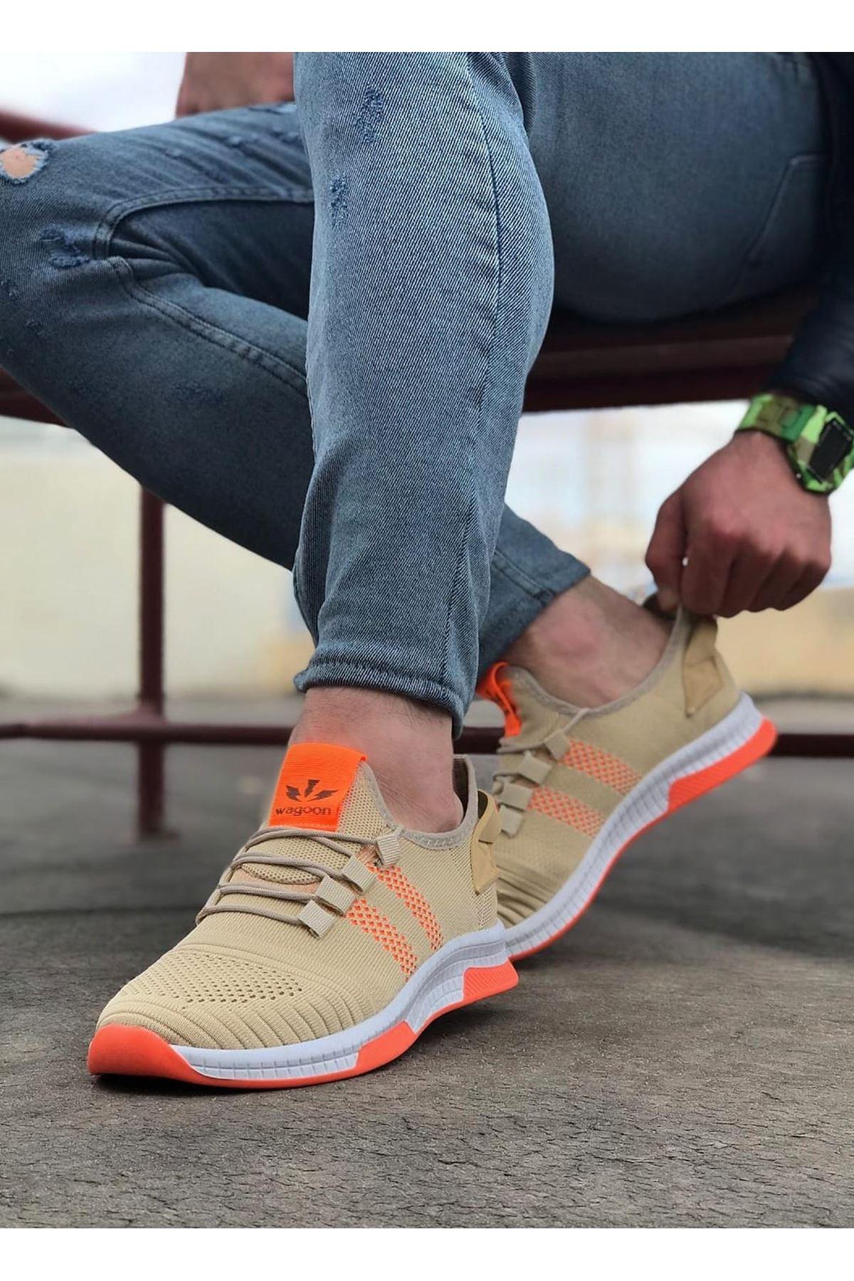 Wagoon WG101 Bej Turuncu Erkek Spor Ayakkabı