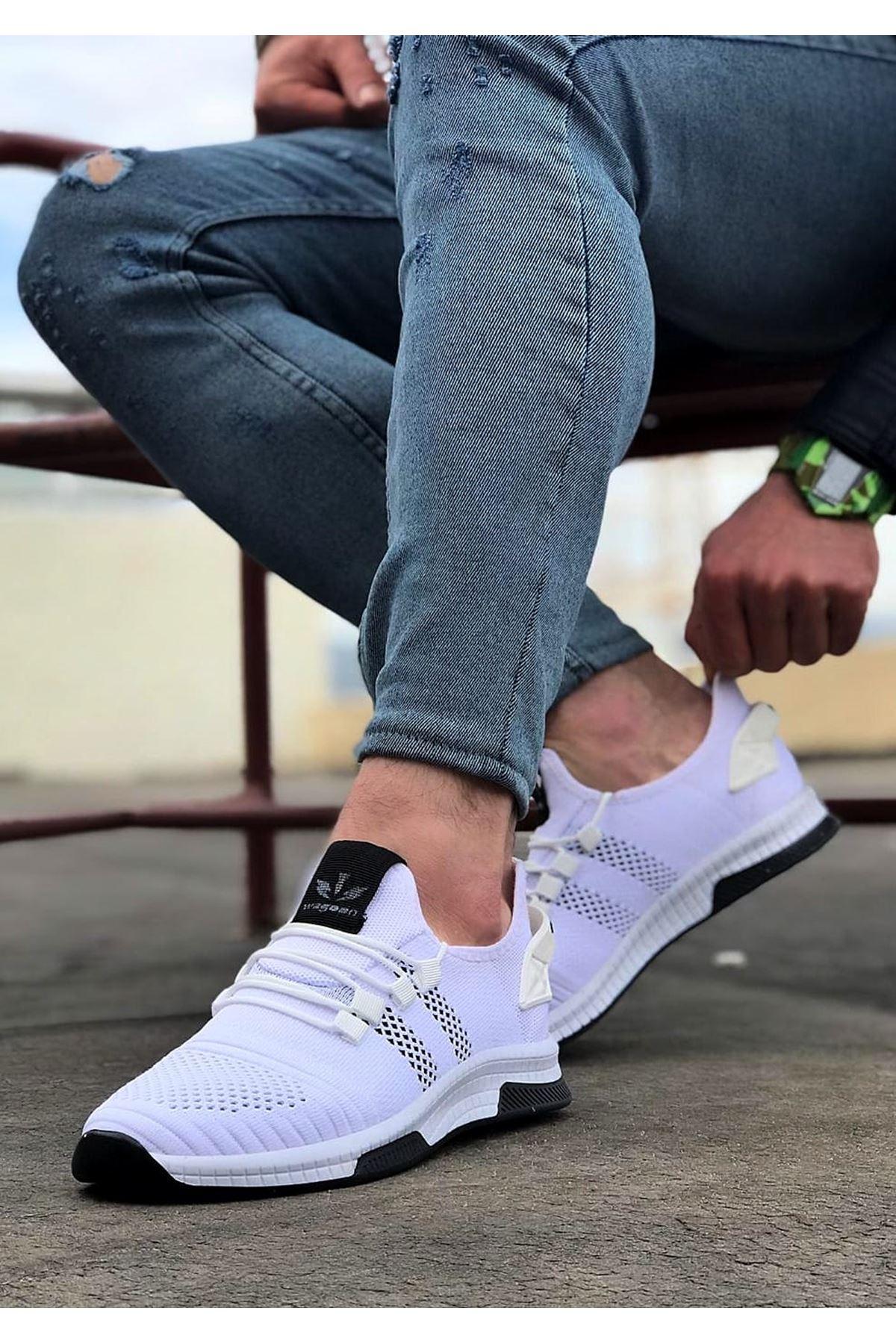 Wagoon WG101 Beyaz Siyah Erkek Spor Ayakkabı