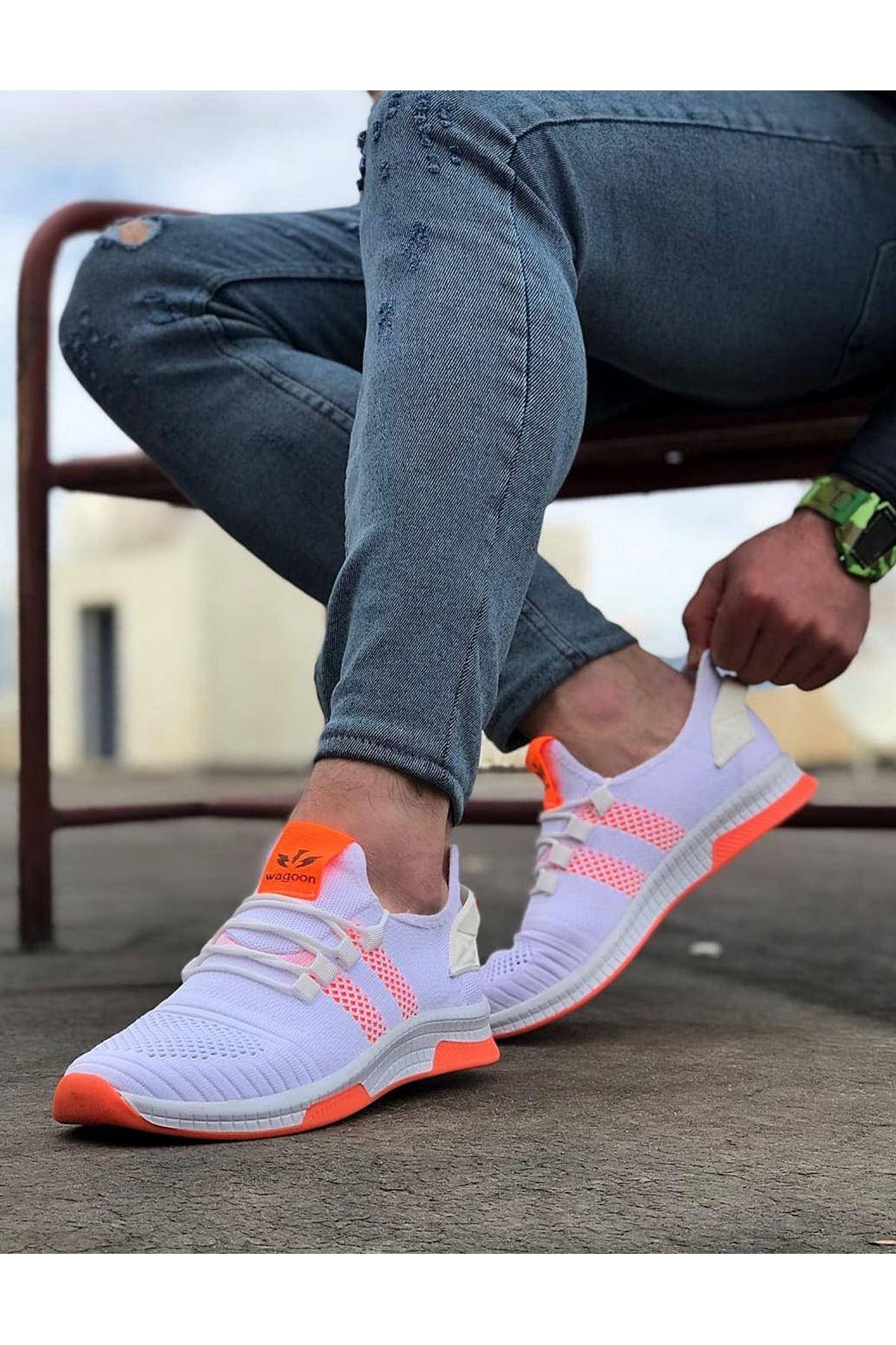 Wagoon WG101 Beyaz Turuncu Erkek Spor Ayakkabı