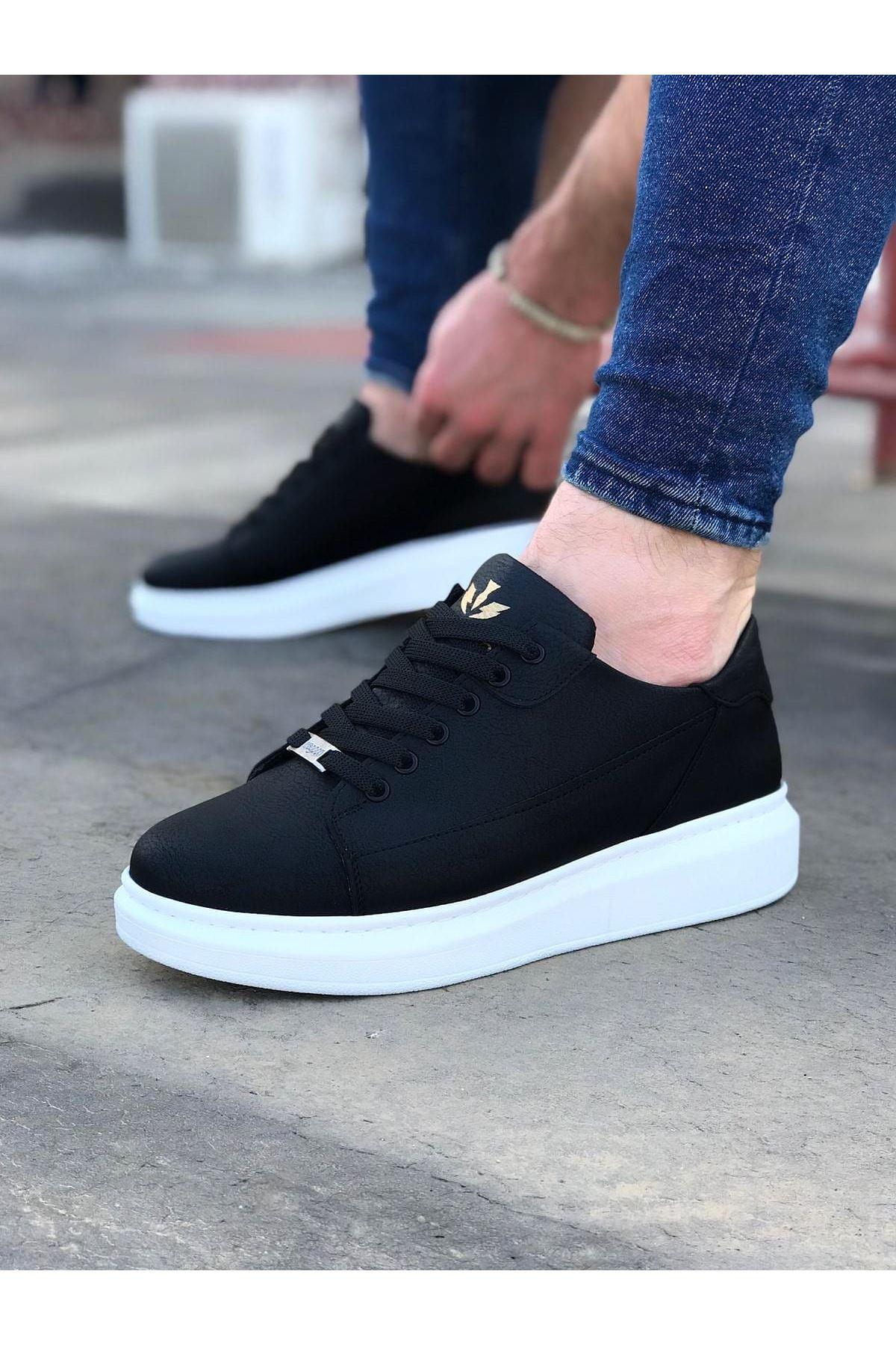 Wagoon WG028 Siyah Bağcıklı Kalın Taban Casual Erkek Ayakkabı