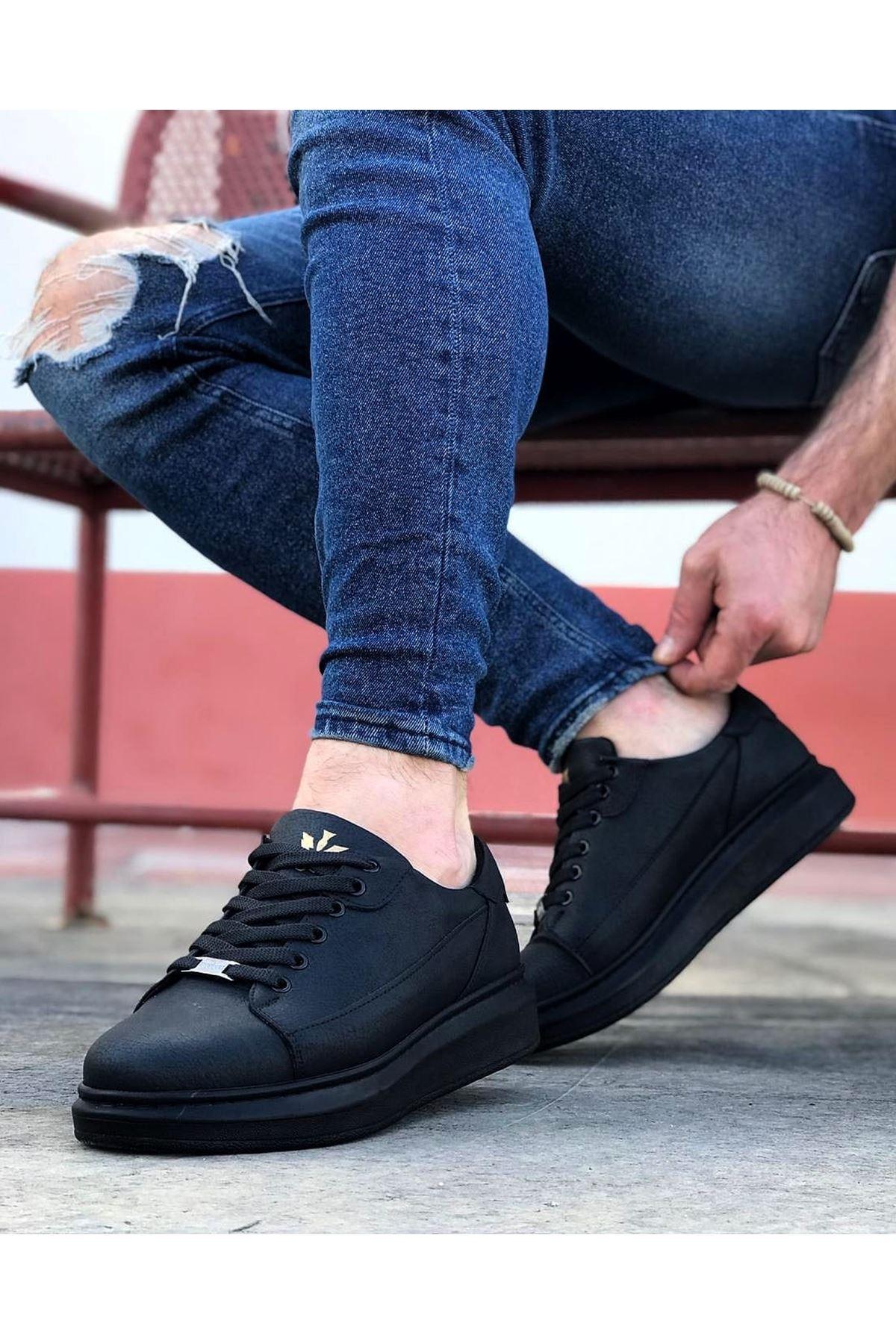 Wagoon WG028 Kömür Bağcıklı Kalın Taban Casual Erkek Ayakkabı