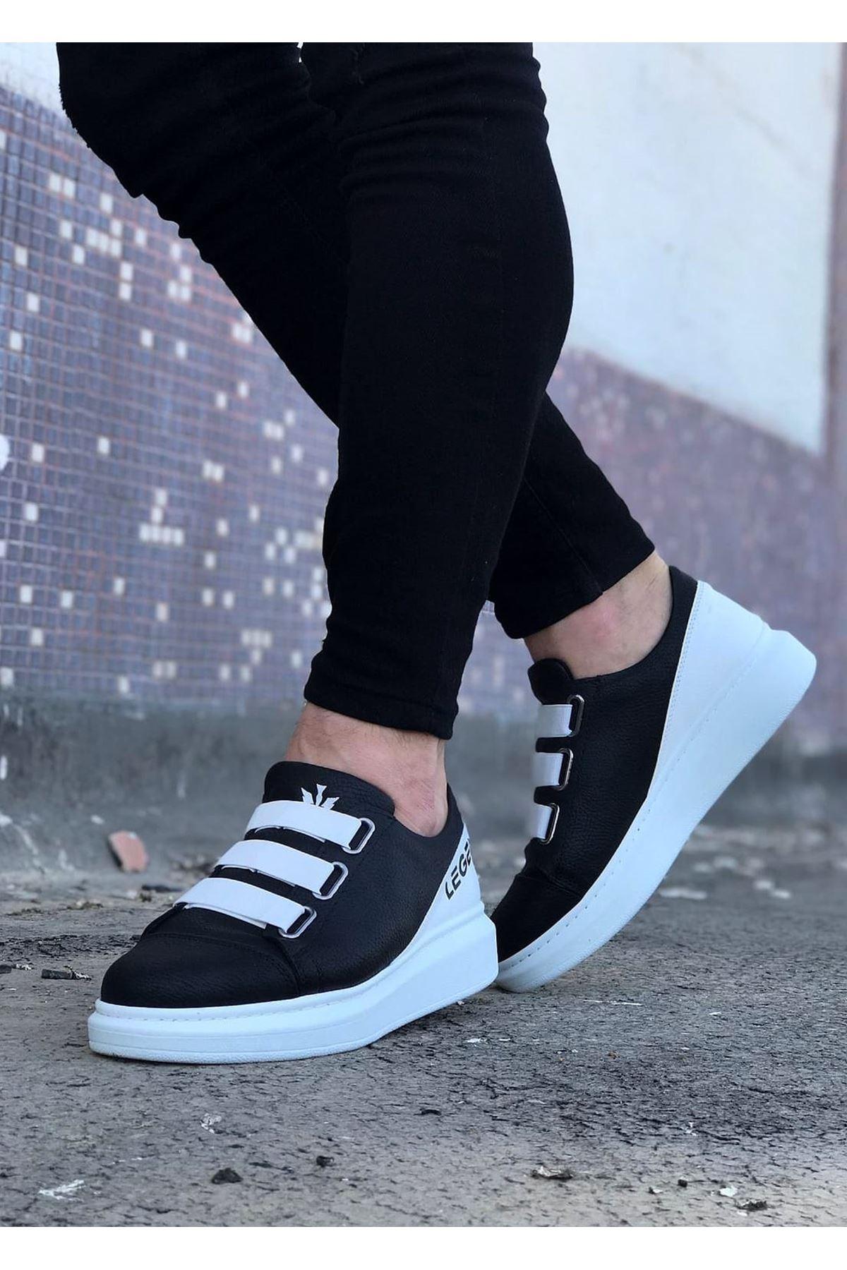 Wagoon WG029 Siyah Beyaz Kalın Taban Casual Erkek Ayakkabı