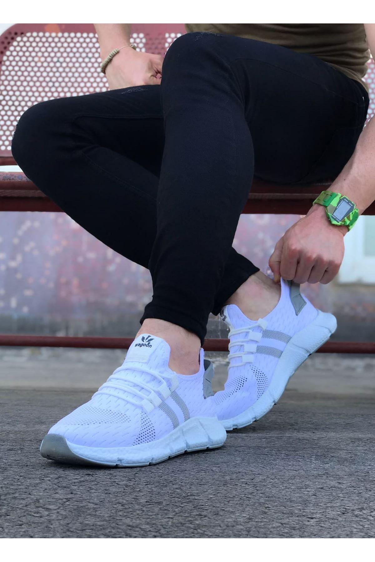 Wagoon WG102 Beyaz Gri Erkek Spor Ayakkaı