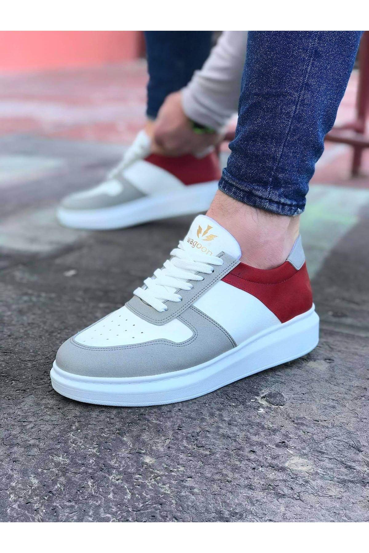 Wagoon WG011 Beyaz Kırmızı Erkek Casual Ayakkabı