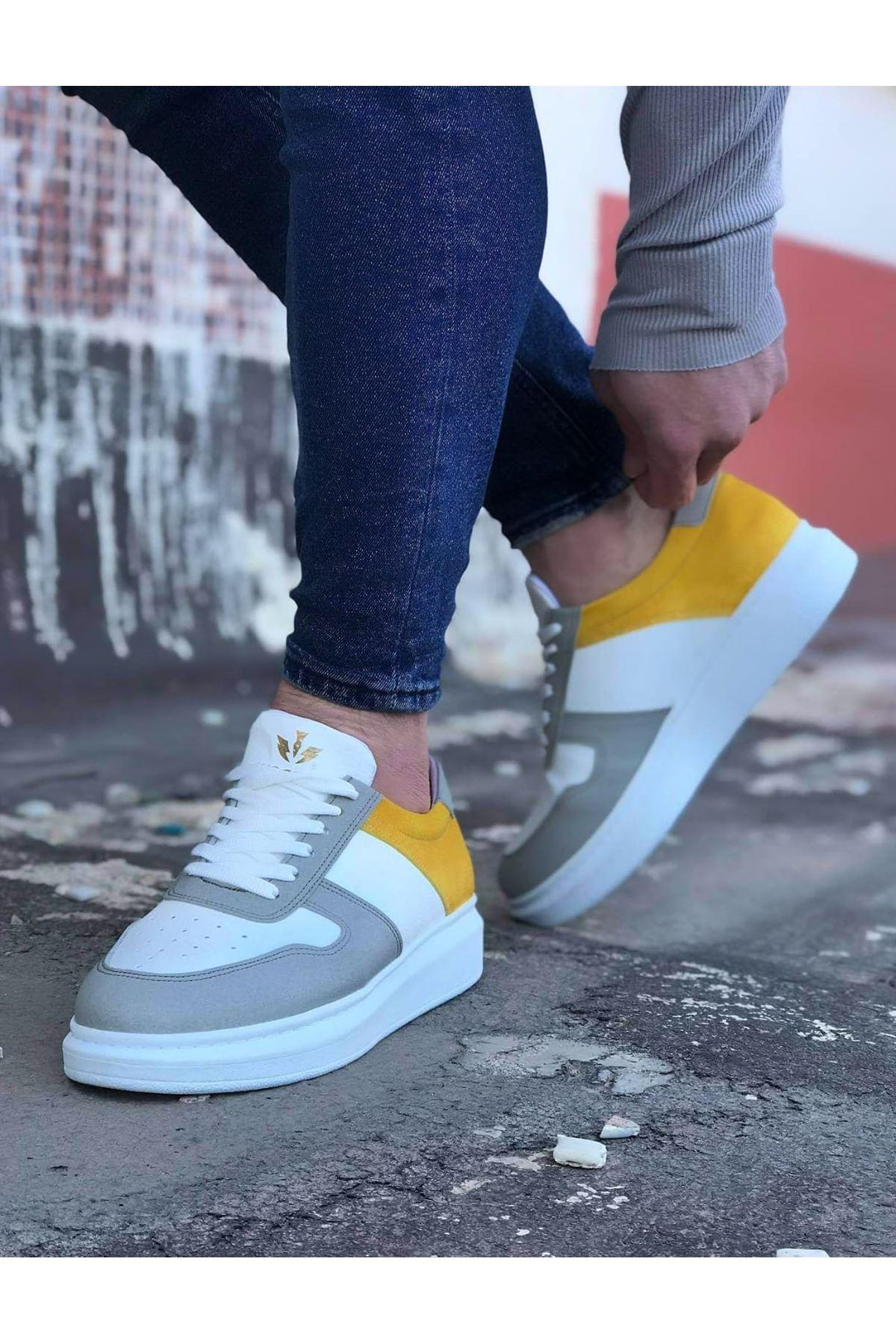 Wagoon WG011 Beyaz Sarı Erkek Casual Ayakkabı