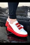 Wagoon WG029 Beyaz Kırmızı Kalın Taban Casual Erkek Ayakkabı