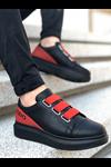 Wagoon WG029 Kömür Kırmızı Kalın Taban Casual Erkek Ayakkabı